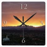 Sunrise over St. George Utah Landscape Square Wall Clocks