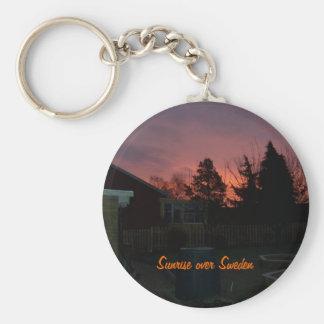 Sunrise over Sweden Basic Round Button Keychain