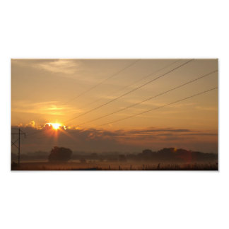 Sunrise over the country side photo print