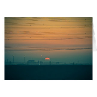 Sunrise over the Kuwait refineries Card