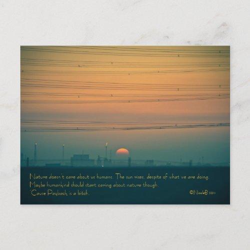 Sunrise over the Kuwait refineries postcard
