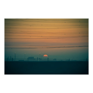 Sunrise over the Kuwait refineries Poster