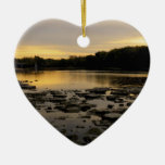 Sunrise over the Maumme river Double-Sided Heart Ceramic Christmas Ornament