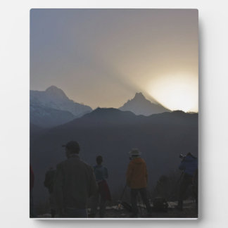 Sunrise over the mountains photo plaque