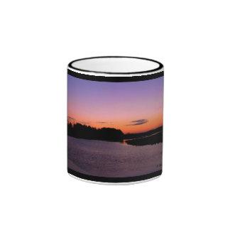 Sunrise over the river mug