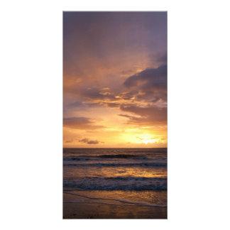 Sunrise over the sea photo card template