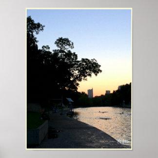 """""""Sunrise Over Water"""" Barton Springs Austin Poster"""