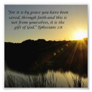 Sunrise Over Water Grace Ephesians 2:8 Print Photo Print