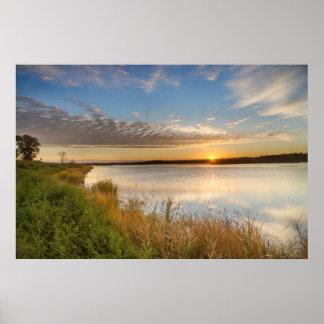 Sunrise Over Wetlands At Arrowwood National Poster