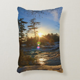 Sunrise Over Winter Landscape Decorative Pillow