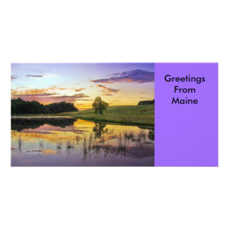 Sunrise Picnic Greetings From Maine Personalized Photo Card