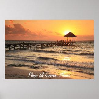 Sunrise Pier seascape, Playa Del Carmen, Mexico Poster