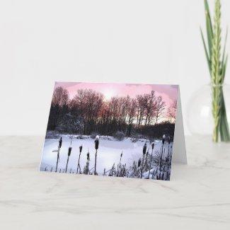 Sunrise Pond Seasons Greetings card