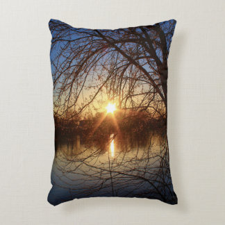 Sunrise Rays Light Up Tree Buds Accent Pillow