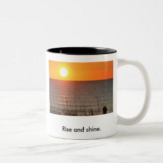 sunrise, Rise and shine. Two-Tone Coffee Mug