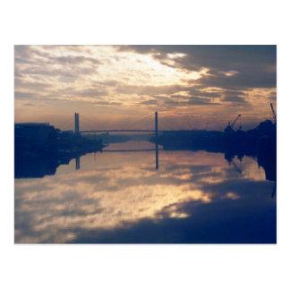 Sunrise, River Usk, Newport, Mon. November 1977 Postcard