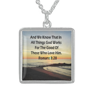 SUNRISE ROMANS 8:28 SCRIPTURE VERSE STERLING SILVER NECKLACE