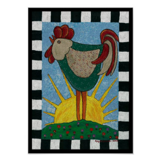 Sunrise Rooster - morning rooster print
