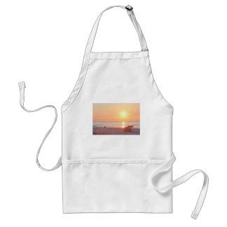 Sunrise Sandy Beach Ocean Lifeguard Stand Photos Aprons