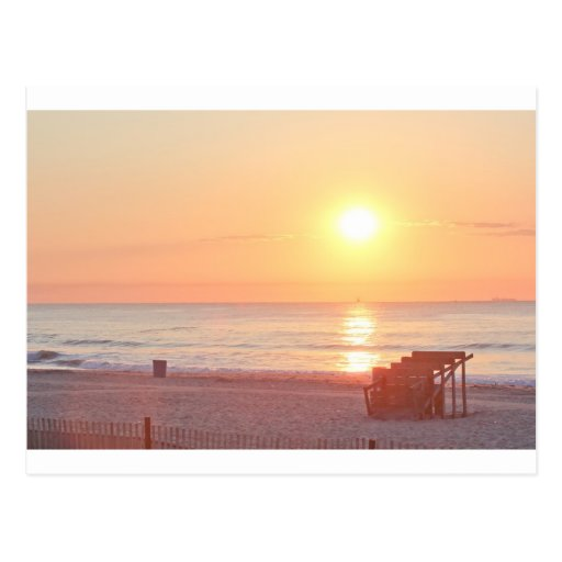 Sunrise Sandy Beach Ocean Lifeguard Stand Photos Postcard