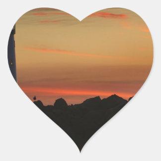 Sunrise Santa Cruz Lighthouse Heart Sticker