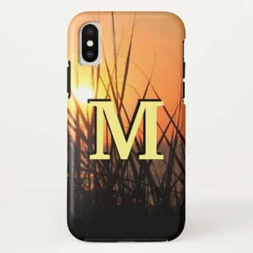 Beach Themed Sunrise Silhouette ifonx Orange Black Monogram iPhone X Case