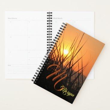 Beach Themed Sunrise Silhouette Sea Monogram Bullet Journal Planner