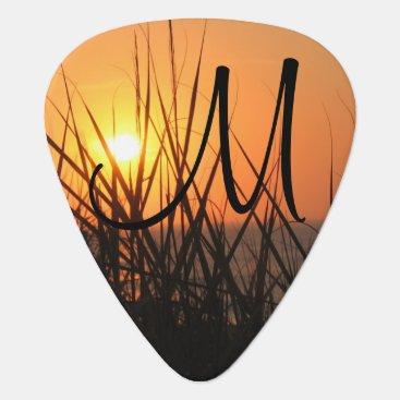 Beach Themed Sunrise Silhouette Summer Beach Add A Monogram Guitar Pick