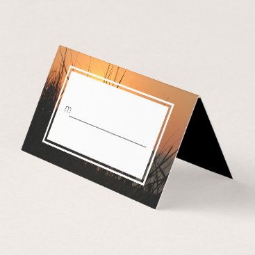 Beach Themed Sunrise Silhouette Summer Beach Wedding Place Card