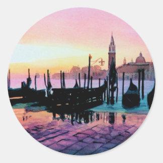 """""""Sunrise St. Mark's"""" Gondola Watercolor Classic Round Sticker"""