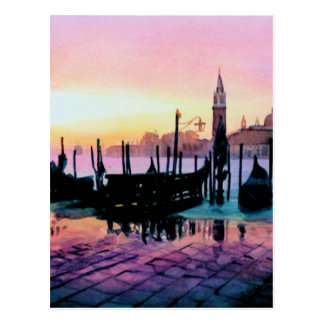"""Sunrise St. Mark's"" Gondola Watercolor Postcard"