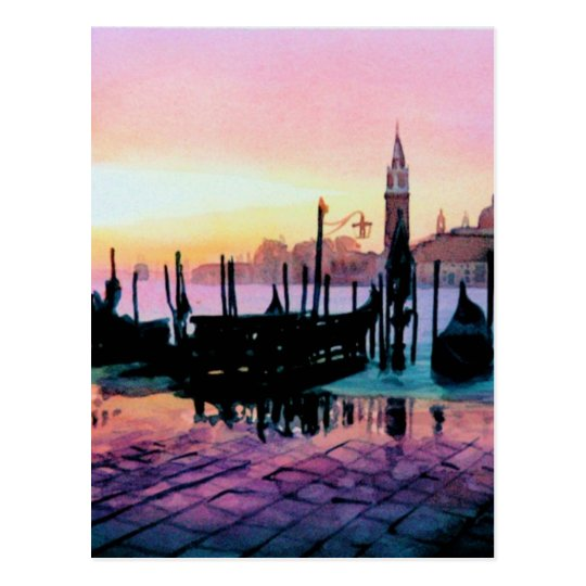 """Sunrise St. Mark's"" Gondola Watercolor Postcard"