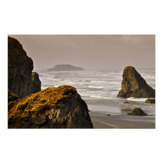 Sunrise Storm Surf and Gold Poster