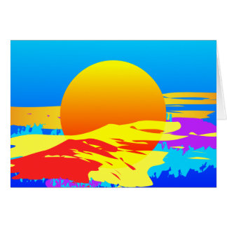 Sunrise Sunset Colorful Abstract Painted Card