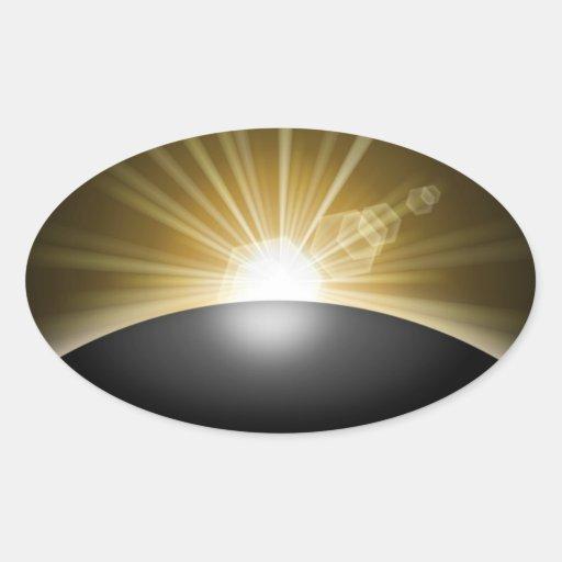 Sunrise Sunset Planet Oval Sticker