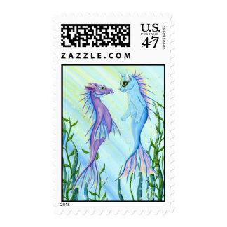 Sunrise Swim, Sea Dragon & Mermaid Cat Art Postage