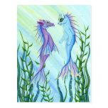 Sunrise Swim Sea Dragon & Mermaid Cat Art Postcard