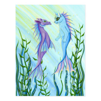 Sunrise Swim Sea Dragon & Mermaid Cat Art Postcard