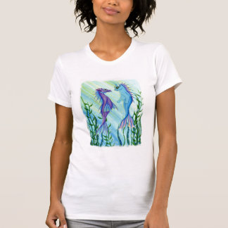 Sunrise Swim, Sea Dragon & Mermaid Cat Art T-Shirt