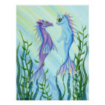 Sunrise Swim, Sea Dragon & Mermaid Cat Fantasy Art Poster