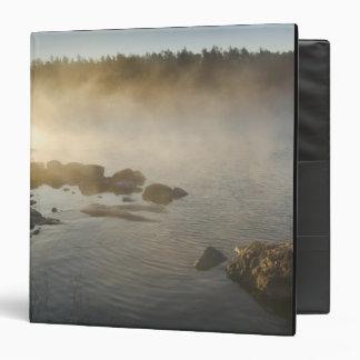 Sunrise through fog in Anderson Bay, Rainy 3 Ring Binder