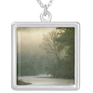 Sunrise through fog viewed from Red Bluff, Silver Plated Necklace