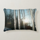 Sunrise Through Icicles Winter Nature Photography Accent Pillow
