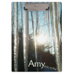 Sunrise Through Icicles Winter Nature Photography Clipboard