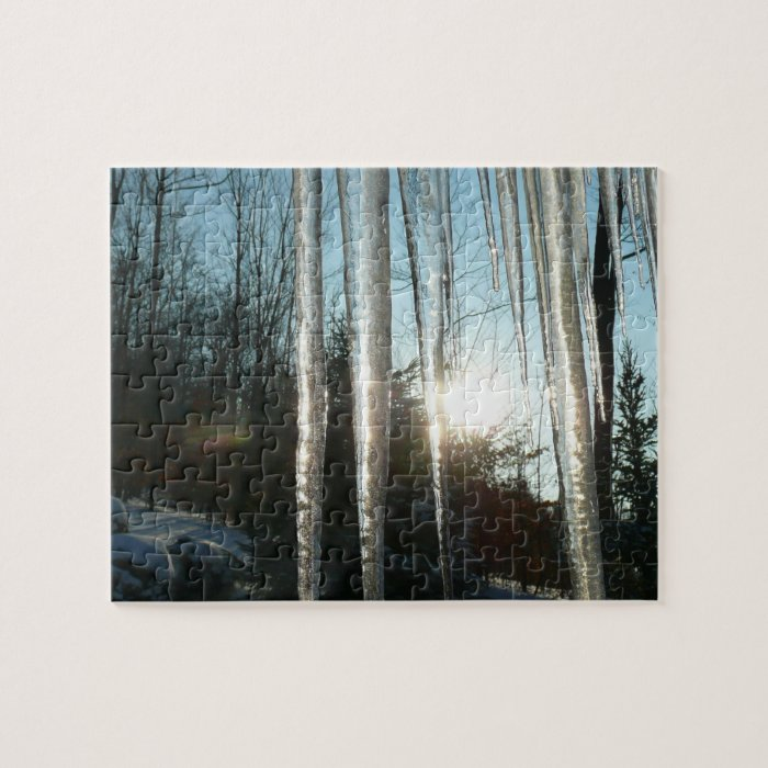 Sunrise Through Icicles Winter Nature Photography Jigsaw Puzzle