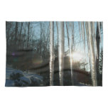 Sunrise Through Icicles Winter Nature Photography Kitchen Towels
