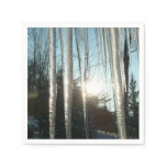 Sunrise Through Icicles Winter Nature Photography Paper Napkin