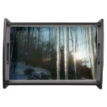 Sunrise Through Icicles Winter Nature Photography Serving Tray