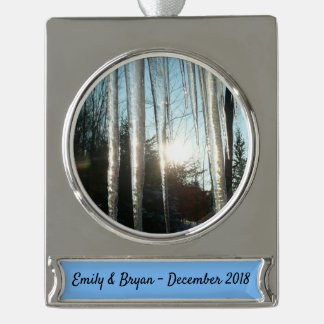 Sunrise Through Icicles Winter Nature Photography Silver Plated Banner Ornament