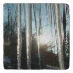 Sunrise Through Icicles Winter Nature Photography Trivet